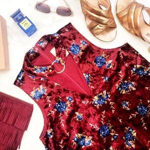 Burgundy Floral Choker Neck Velvet Dress